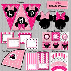 Minnie Mouse Birthday Party Printable Party Package / Pack Collection / Pink, Cupcake Toppers, Wrapper, Banner and so much more. $6.00, via Etsy.