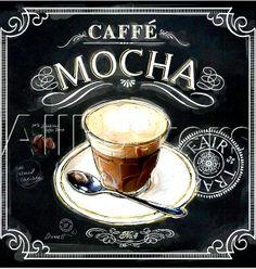 #Chalkboard #coffee art Caffe mochaToniK ⊱CհαƖҜ ℒЇℕ℮⊰ www.art.com/products/p18267794874-sa-i7103407/chad-barrett-coffee-house-caffe-latte.htm