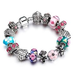 Silver Plated Crystal Created Diamond Charm Bracelet for Women - Bracelets World