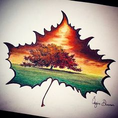 """""""Colored pencil drawing by me. The lonely tree with the sunset. #repost#update…"""""""