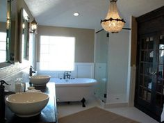 vintage bath with built in cabinet