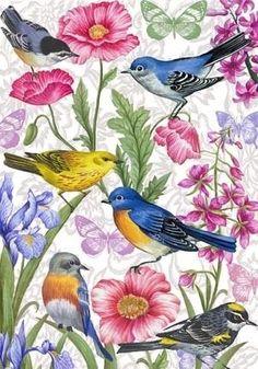 Birds and Flowers-vertical By Elena Vladykina Vintage Birds, Vintage Art, Bluebird Vintage, Graffiti Kunst, One Stroke Painting, Bird Illustration, Motif Floral, Decoupage Paper, Little Birds
