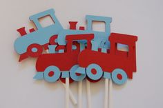 Train Cupcake Toppers by ajzdelights on Etsy, $11.50