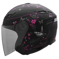 GMAX GM67S Ladies Pink Butterfly Open Face Motorcycle Helmet w/ Face Shield