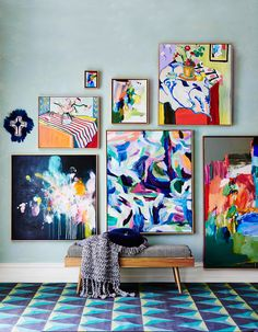 One of our favorite emerging trends in the world of decor is the aesthetic that seamlessly blends masculine and feminine points of design. Colorful painting, abstract art and wall decor Art Moderne, Art Auction, Art Decor, Home Decor, Painting Inspiration, American Art, Home Art, Buy Art, Contemporary Art