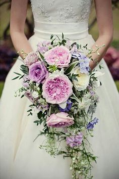 Romantic Cascading Bridal Bouquet Comprised Of Pink, Lavender & Purple Florals & Mixed Greenery/Foliage