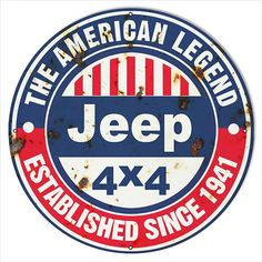 30'x30' Distressed American Legend Since 1941 Jeep Sign. This Sign Has Eyelets. Made In The USA.