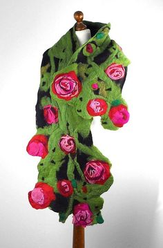 Felted Scarf ALICE IN WONDERLAND art ooak Wrap wearable by filcant, $189,00