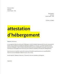 attestation d'hébergement format word en 2019 | Attestation hebergement, Certificat de travail ...