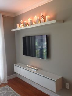 I like the candle shelf.for our bedroom, candle shelf over bed? Decor, Apartment Living, Interior, Home, Living Room Decor, House Interior, Bedroom Decor, Interior Design, Tv Wall Decor