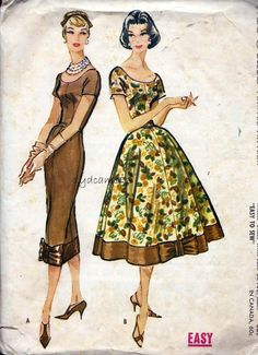 McCalls 4408 © 1957 Vintage 1950s Wiggle and Full Dress w Bow Trimmed Hem