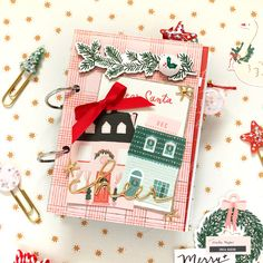 Hello there crafty friends! Enza here to share a mini album featuring the gorgeous Merry Days collection. My goal for this mini was to document our traditions and most memorable moments from last December; I picked a few of my. Christmas Mini Albums, Christmas Minis, Christmas Crafts, Christmas Travel, Christmas Design, Mini Album Scrapbook, Scrapbook Paper, Scrapbooking, Scrapbook Layouts