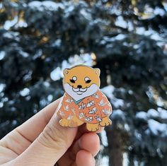 Peach Shiba puppy pin_enamel pin_puppy_dog enamel