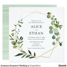 Our modern greenery wedding invitation features a geometric frame with eucalyptus and foliage. Nice for spring and boho weddings. #greenerywedding