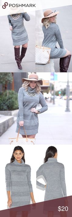 Turtleneck Sweaterdress in Gray Mix stitch sweater dress with slouchy turtleneck. This is a size small but it's a pretty loose fit on me (I'm a size 6). More of a tunic type cut than a tight sweater dress. Worn once for the photo shoot above - pictures are the actual dress. Dresses
