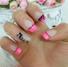 Decoracion en fucsia Cute Acrylic Nail Designs, French Nail Designs, Nail Art Designs, Pretty Nail Art, Beautiful Nail Art, Love Nails, Fun Nails, Cute Simple Nails, Healthy Nails