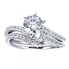 Micro-Pave #Diamond Engagement Ring & #Wedding Band {a perfect pair}