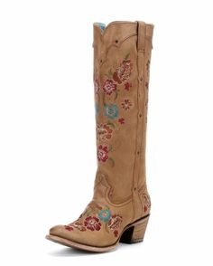 TOTALLY IN LOVE WITH THESE!!!  Women's Honey Multicolor Floral Embroidery Boot - C2672