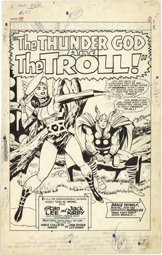 """Thor """"The Thunder God and the Troll"""" by Jack Kirby - ...°°"""