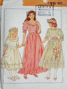 Vintage early 1980s Style 3673 sewing pattern  Gorgeous little girls ruffle trim maxi or midi length bridesmaids dress. Puff sleeves and lined  It