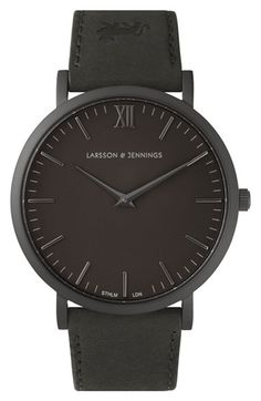 LARSSON & JENNINGS 'Läder' Leather Strap Watch, 40mm available at #Nordstrom