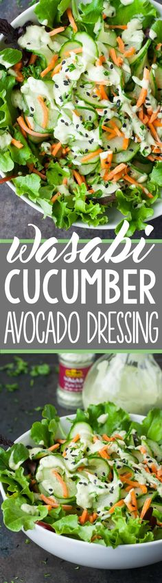 Let's shake up those salads with a homemade dressing recipe! This naturally vegan wasabi cucumber avocado dressing is super creamy and full of flavor! Avocado Dressing, Healthy Salads, Healthy Eating, Healthy Recipes, Avocado Recipes, Salad Recipes, Homemade Dressing Recipe, Cucumber Salad, Side Salad