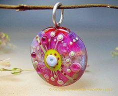 Glass Bead Jewelry, Silver Pendant • lampwork • artisan handmade • Sparkling Lentil • Pink Spring • Glassartist Manuela Wutschke