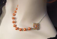 Bridal Pearl Necklace, Orange Pearls, Charm Necklace, Bridesmaid Necklace, Vintage Wedding Jewelry, Silver Chain, FRANCINE. $25.00, via Etsy.