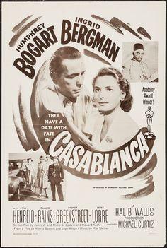 Casablanca (Dominant, One Sheet X Academy Award Winners. Starring Humphrey Bogart, - Available at Sunday Internet Movie Poster. Humphrey Bogart Quotes, Humphrey Bogart Casablanca, Casablanca Movie, Casablanca 1942, Bogart Movies, Claude Rains, Peter Lorre, Digital Film, Academy Award Winners
