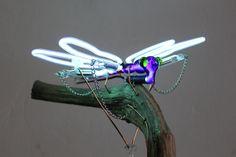 neon automaton dragonfly, year 2017, artist : Jeroen Gordijn