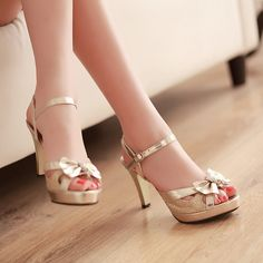 Ankle Straps Bow High Heels Sandals Peep Toes Pumps Platform Women Shoes