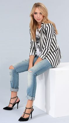 Striped Blazer + Studded Heels via lulus.com