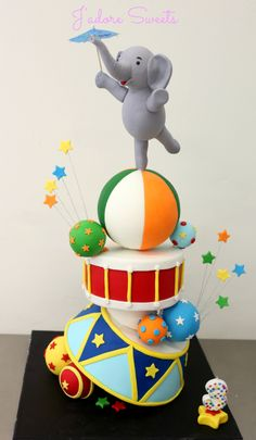 Misc Cakes - I had so much fun making this topsy turvy circus themed cake for my son's birthday. I created this cake in a workshop held by Handi Cakes. Toddler Boy Birthday, Baby Birthday Cakes, Circus Birthday, 3rd Birthday, Toddler Boys, Carnival Party Decorations, Carnival Cakes, Carnival Ideas, Gravity Defying Cake