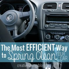 The Most Efficient Way to Spring Clean Your Car Short on time, but still want a car that sparkles? You can Spring Clean your car in less than 15 minutes and improve the look right away. Car Cleaning Hacks, House Cleaning Tips, Diy Cleaning Products, Cleaning Solutions, Spring Cleaning, Car Hacks, Cleaning Fun, Cleaning Crew, Hacks Diy
