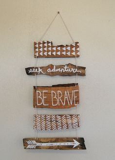 This is a beautiful hand painted wall hanging for your nursery, or any space that you want to add some rustic, natural charm. It is made from