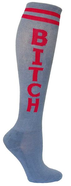 Grey knee high sock with BITCH in pink lettering and a cushioned footbed. Unisex design: fits a women's shoe size 7 - men's 13.5.