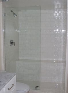 shower bench | Glass panel shower, bench | Master Bathroom