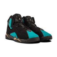 huge selection of 455c0 3e0de NIKE AIR JORDAN TRUE FLIGHT BLACK RIO TEAL METALLIC GOLD 342774 014