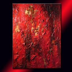 Original Huge Red Textured Abstract Painting von newwaveartgallery
