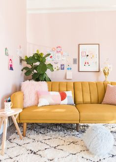 2019 Interior Design Trends: Part One — 204 PARK channel tufted mustard sofa in blush room Room Design, House Interior, Apartment Decor, Couches Living Room, Home, Interior, Pink Living Room, Living Room Remodel, Living Room Designs