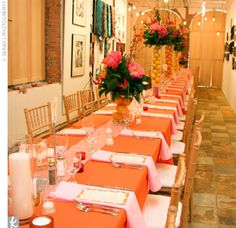 orange and brown wedding reception | ... orange runners, and orange napkins; the other side had orange