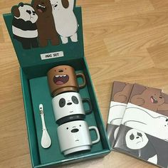 Omg, what a cute box! Keramik Design, We Bear, Cute Cups, We Bare Bears, Cool Mugs, Mugs Set, Cool Things To Buy, Stationery, Geek Stuff