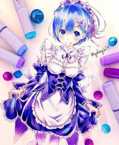 Manga Anime, Art Anime, Anime Artwork, Anime Art Girl, Copic Drawings, Kawaii Drawings, Cute Drawings, Copic Marker Art, Copic Art