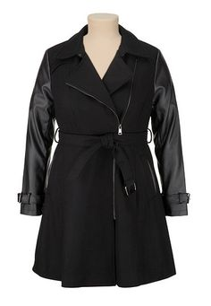 Belted Asymmetric Zip Faux Leather Sleeve Coat (original price, $159) available at #Maurices