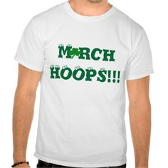 """March HOOPS"" Original Slogan.  A Shamrock is inserted in place of the letter A in March.  One-of-a-kind Basketball Shirt for male and female.  Funny Bouncing Eyeballs are on top of the letters.  Available in ALL Shirt Styles & Sizes for Male or Female - Baby to Adult. Original Slogan Text saying & Graphic Artwork Design © TamiraZDesigns via:  www.zazzle.com/tamirazdesigns*"