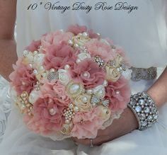 Rustic Fabric Flower Jeweled Wedding by Elegantweddingdecor