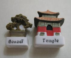 Japanese Temple & Bonsai Tree Miniatures French Feves - Porcelain Figurines King Cake Baby Doll House Feve Charm Mini Prizes on Etsy, $9.99