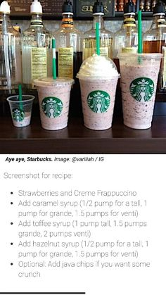 Yummy Smoothies, Smoothie Drinks, Yummy Drinks, Smoothie Recipes, Starbucks Hacks, Starbucks Secret Menu Drinks, Cold Starbucks Drinks, Coffee Drinks, Macarons