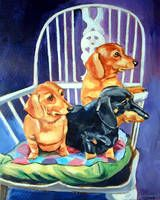 Dachshund Dogs, Mom's in the Kitchen