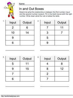 math worksheet : 1000 images about input output on pinterest  worksheets tables  : Math Functions Worksheets
